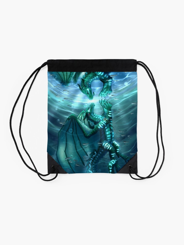 Alternate view of Wings of Fire - Fathom and Turtle Drawstring Bag