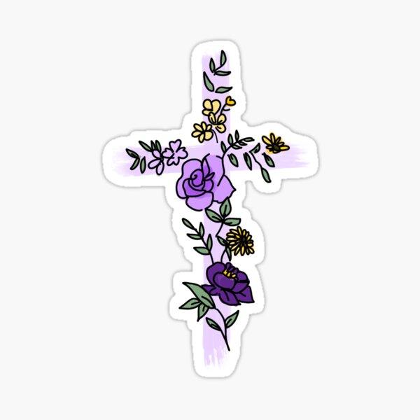 Flower Cross – Lilac Sticker