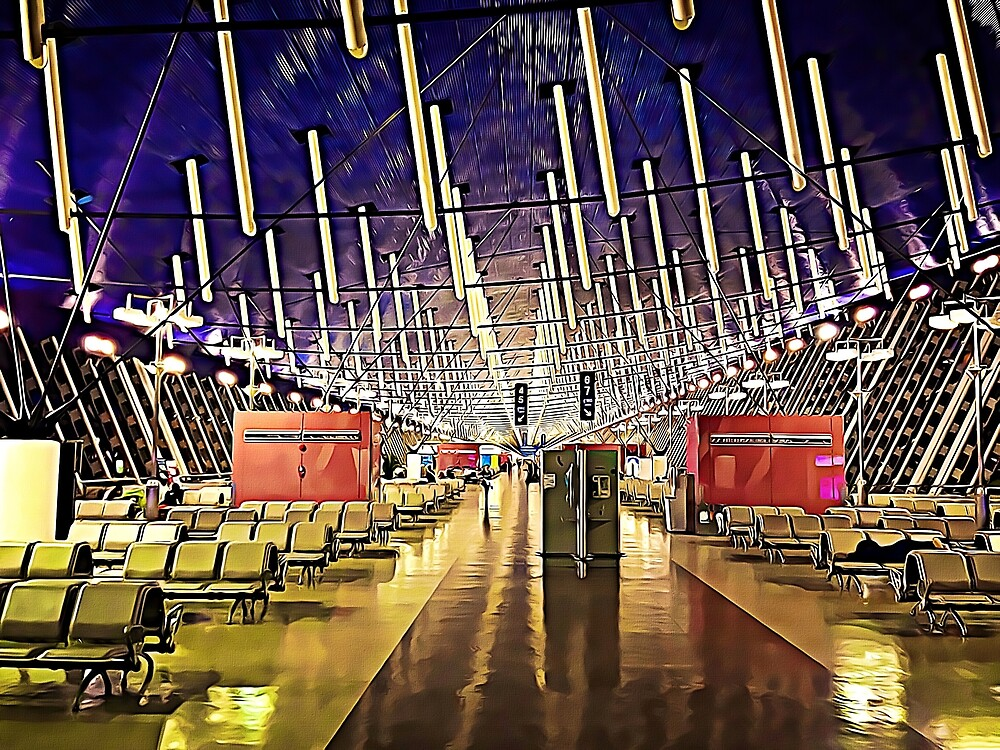 Oil Painting of Modern Interior Architecture — Shanghai Airport, China by DLKR