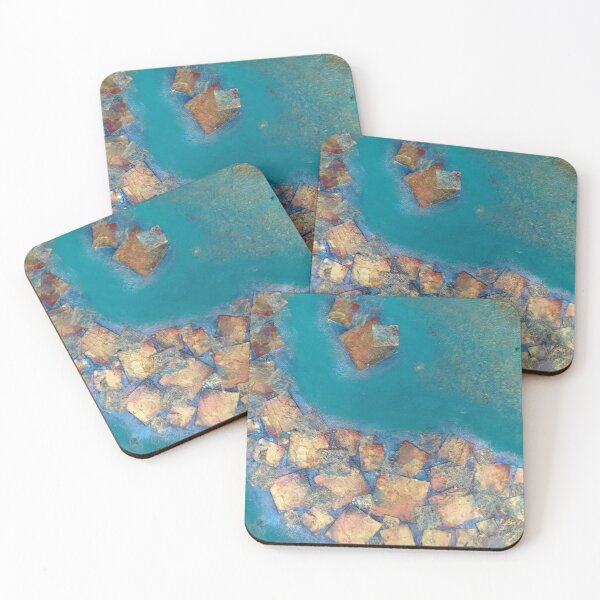Copper squares on turquoise  Coasters (Set of 4)