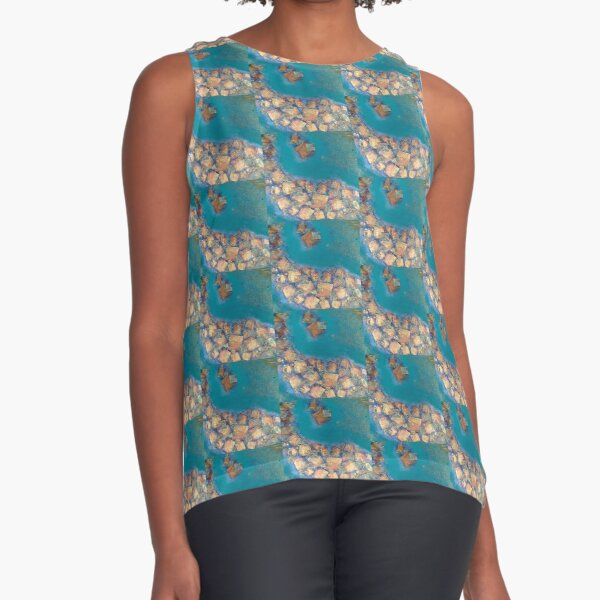 Copper squares on turquoise  Sleeveless Top