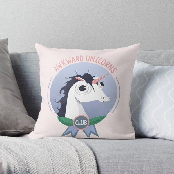Awkward Unicorns Club Throw Pillow