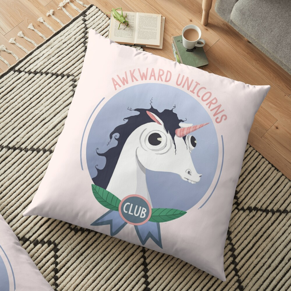 Awkward Unicorns Club Floor Pillow