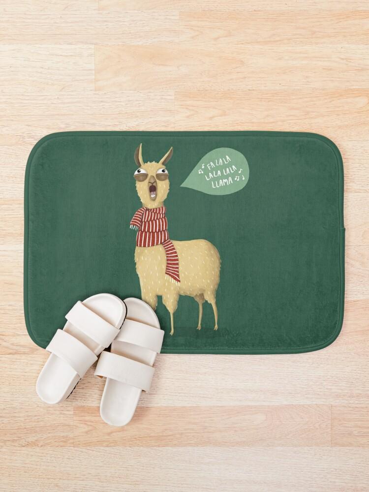 Alternate view of Christmas holiday Llama Bath Mat