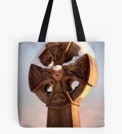Sunlit Snowy Celtic Cross Tote Bag