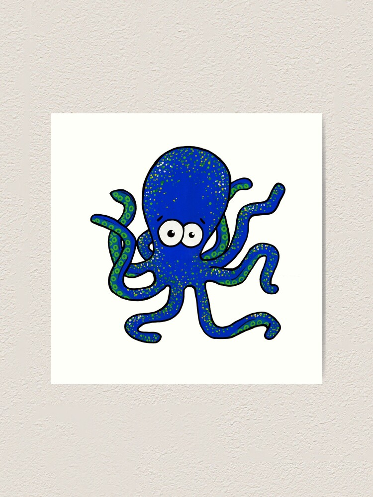 Alternate view of Squiggles the Octopus Art Print