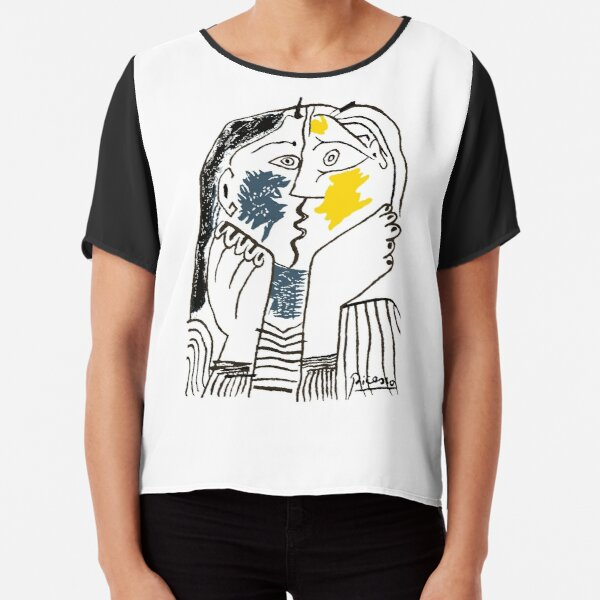 Pablo Picasso The Kiss 1979 Artwork Reproduction For T Shirt, Framed Prints Chiffon Top