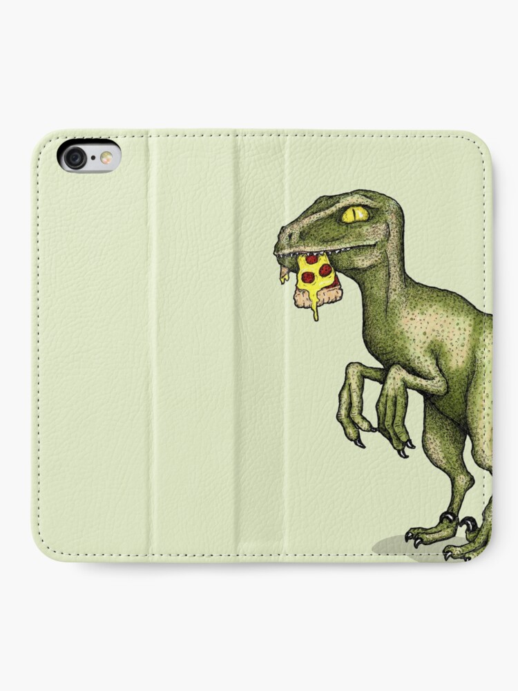 Alternate view of Raptor eating pizza iPhone Wallet