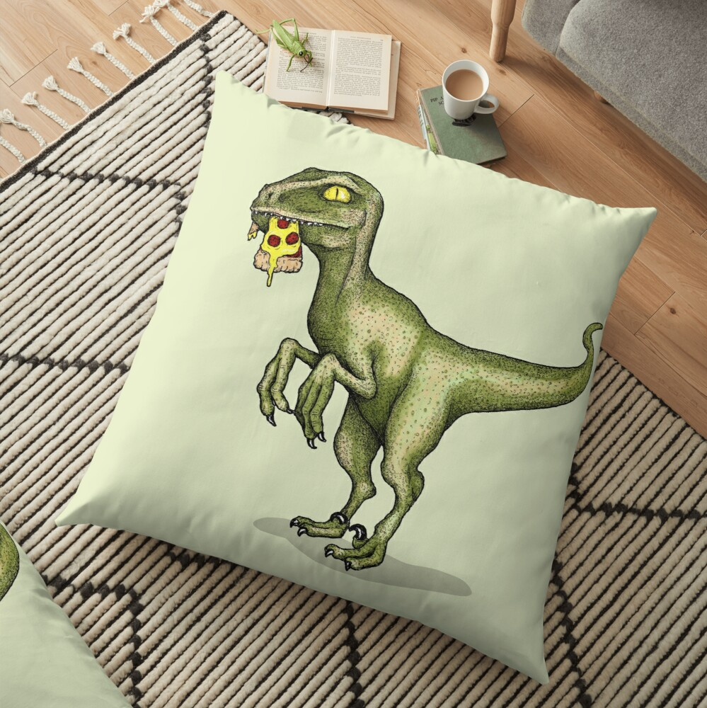 Raptor eating pizza Floor Pillow