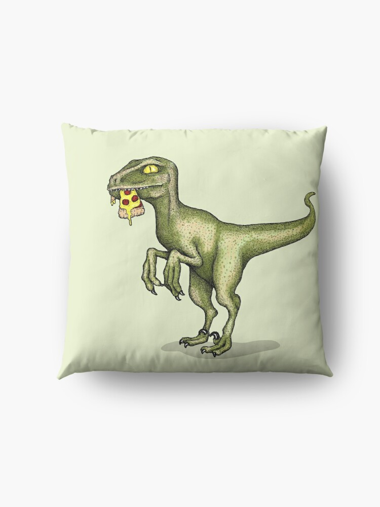 Alternate view of Raptor eating pizza Floor Pillow