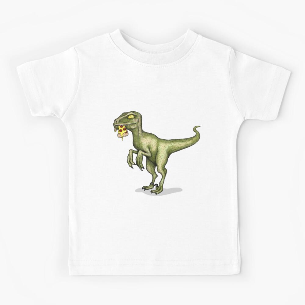 Raptor eating slice of pizza Kids T-Shirt