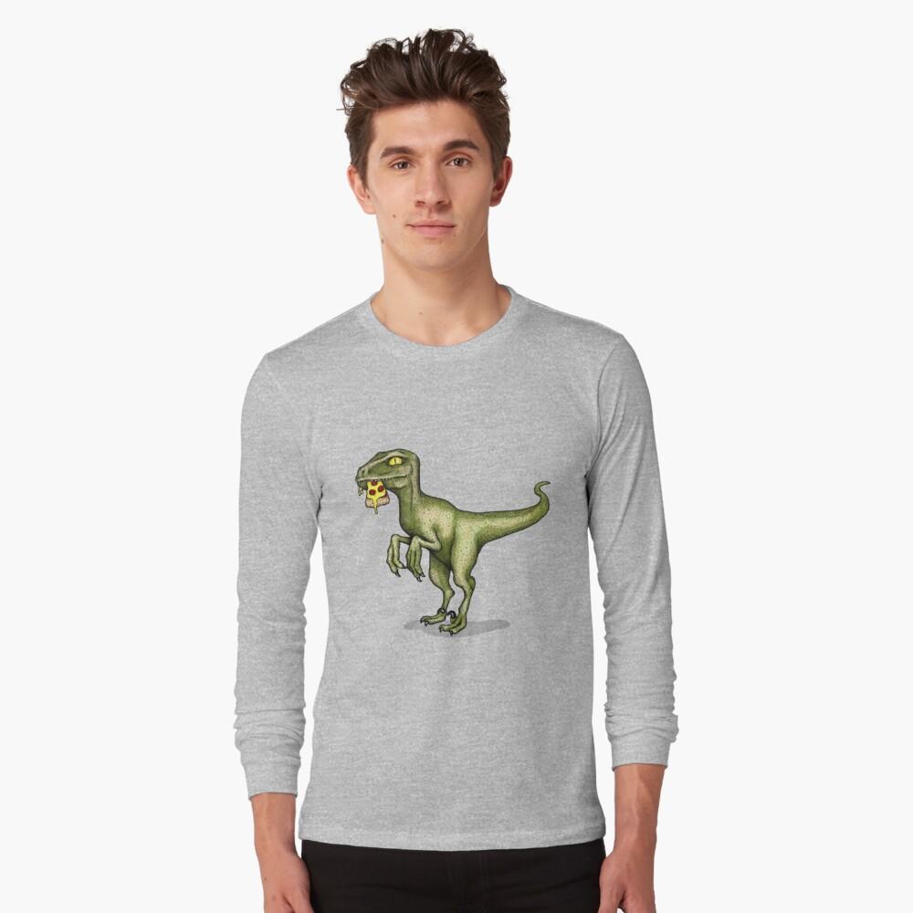 Raptor eating pizza Long Sleeve T-Shirt