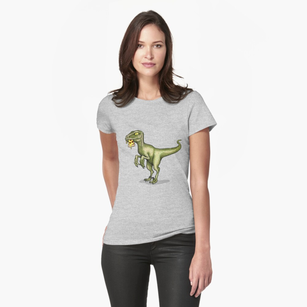 Raptor eating pizza Fitted T-Shirt