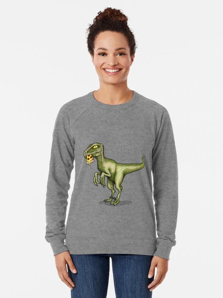 Alternate view of Raptor eating pizza Lightweight Sweatshirt