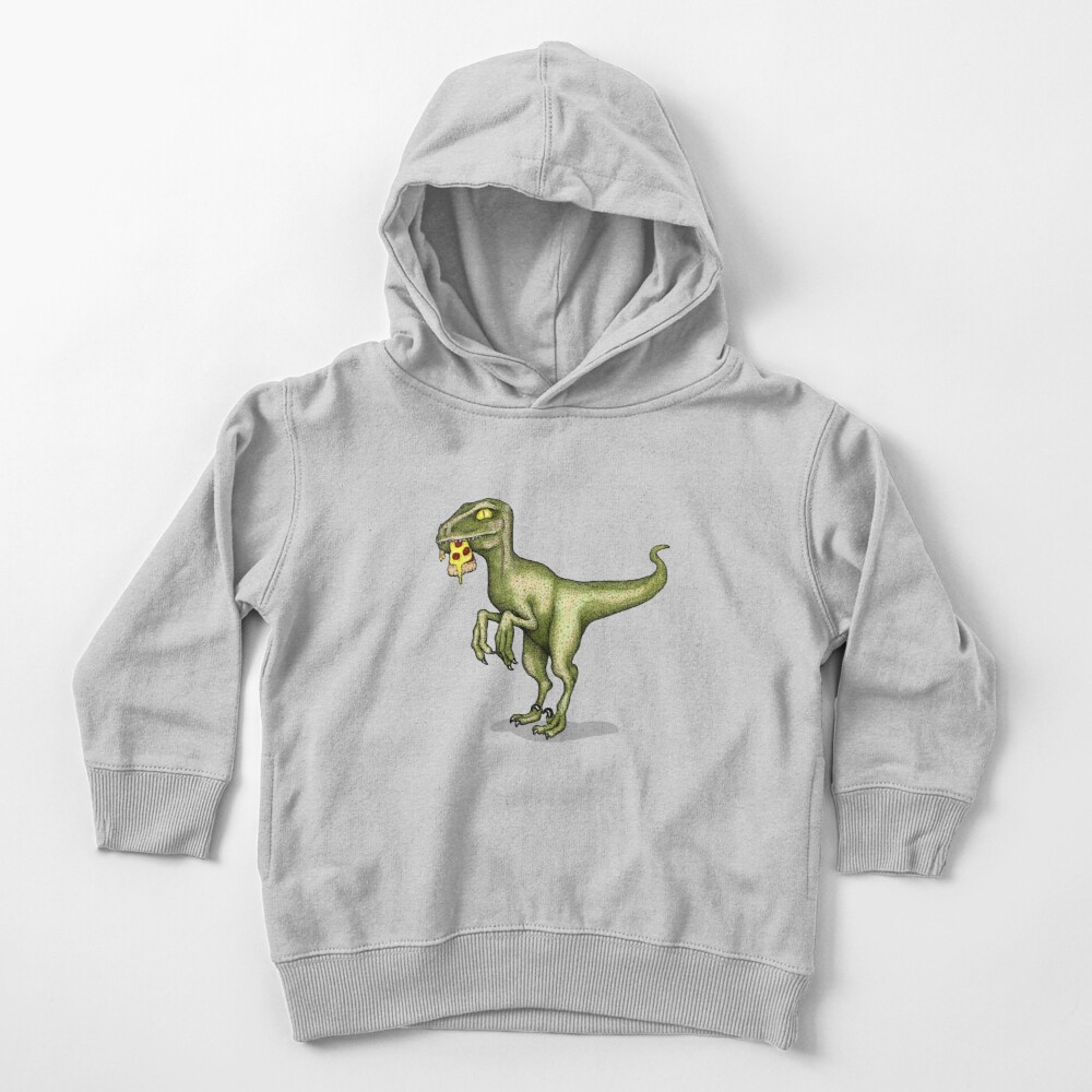 Raptor eating pizza Toddler Pullover Hoodie