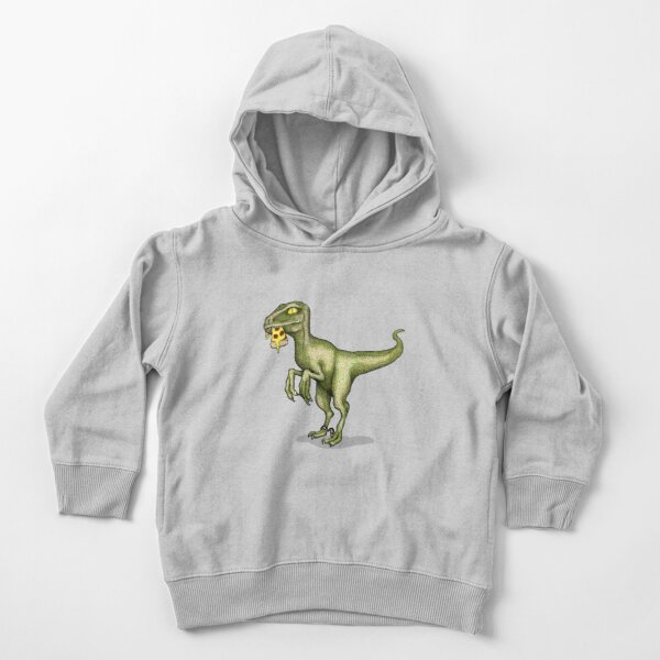 Raptor eating pizza Toddler Pullover Hoodie