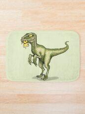 Alfombra de baño Raptor comiendo pizza