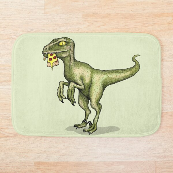 Raptor eating pizza Bath Mat