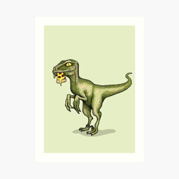 Raptor eating pizza Art Print