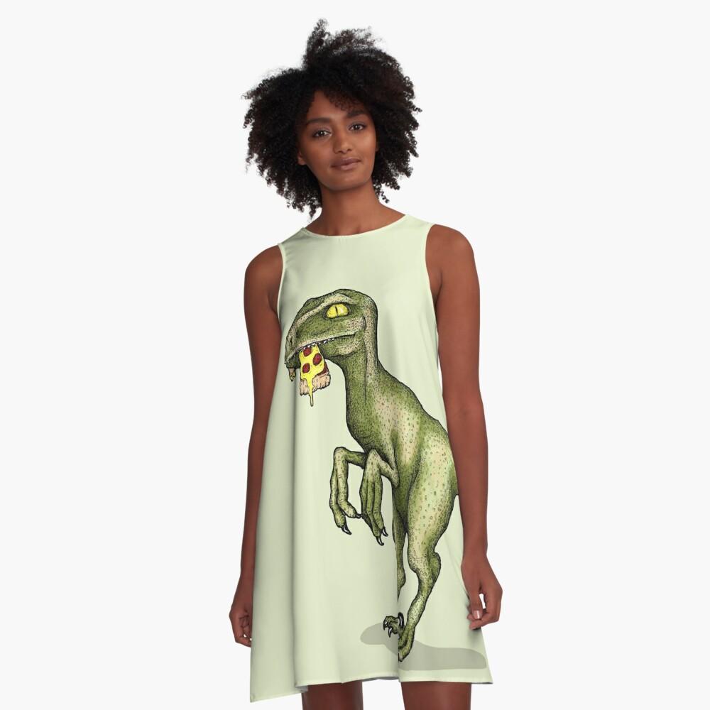 Raptor eating pizza A-Line Dress