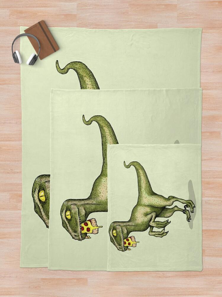 Alternate view of Raptor eating pizza Throw Blanket