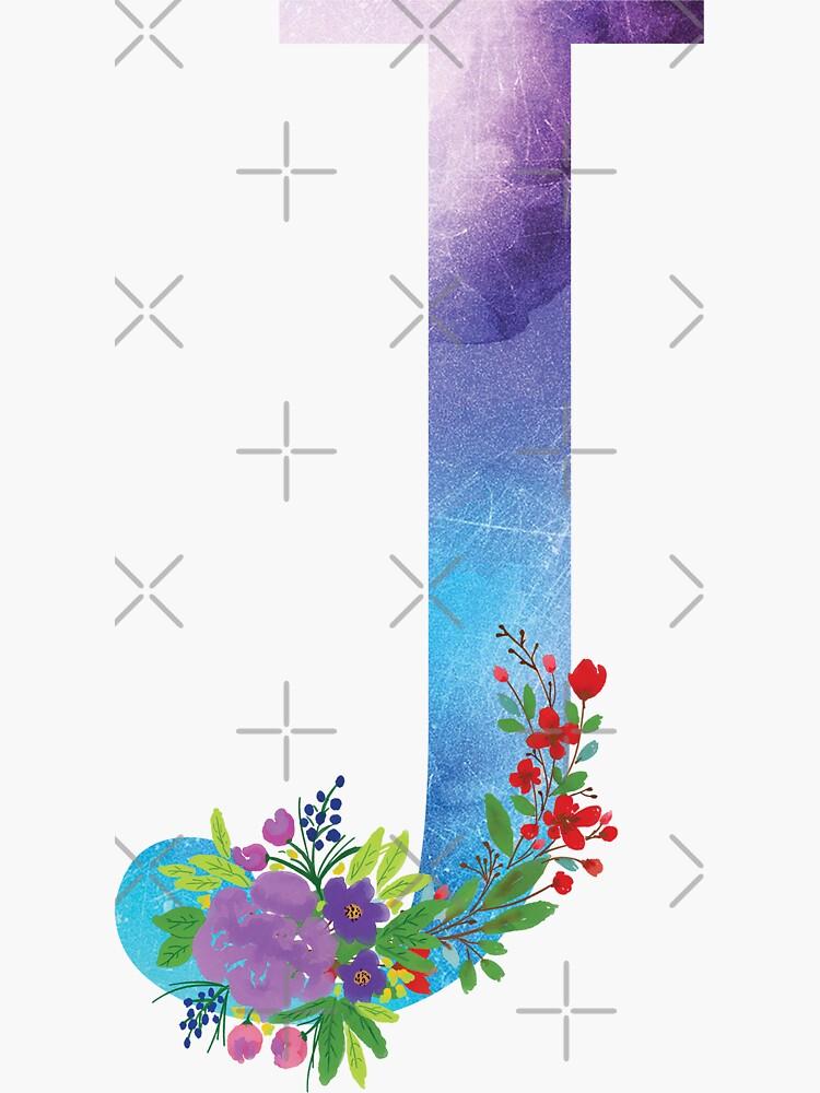 Watercolor Floral Monogram Letter J by tribbledesign