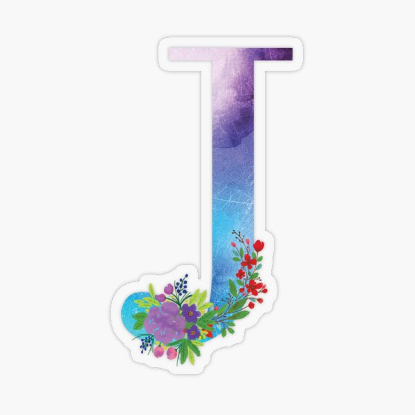 Watercolor Floral Monogram Letter J Transparent Sticker