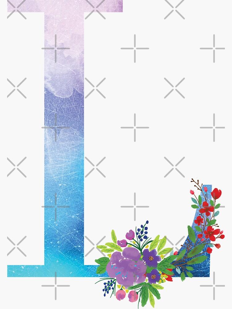 Watercolor Floral Monogram Letter L by tribbledesign