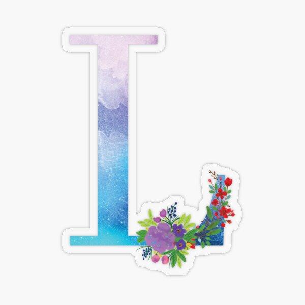 Watercolor Floral Monogram Letter L Transparent Sticker