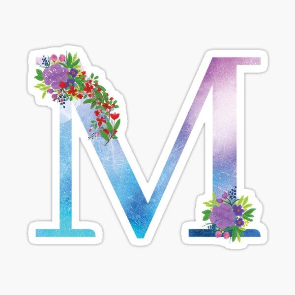Watercolor Floral Monogram Letter M Sticker