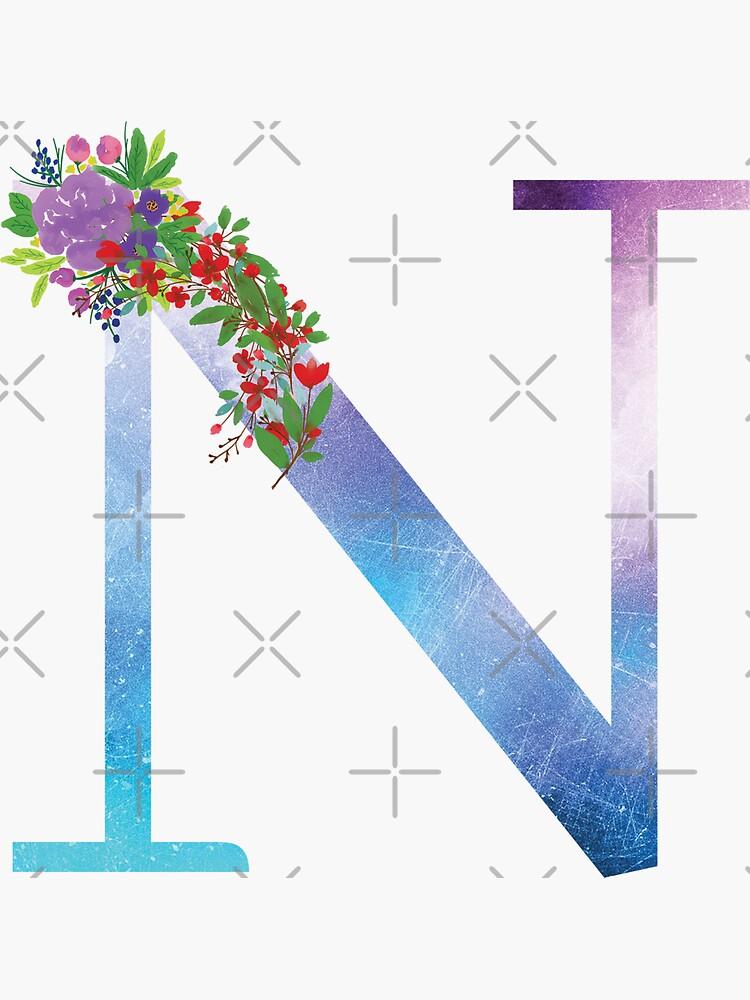 Watercolor Floral Monogram Letter N by tribbledesign