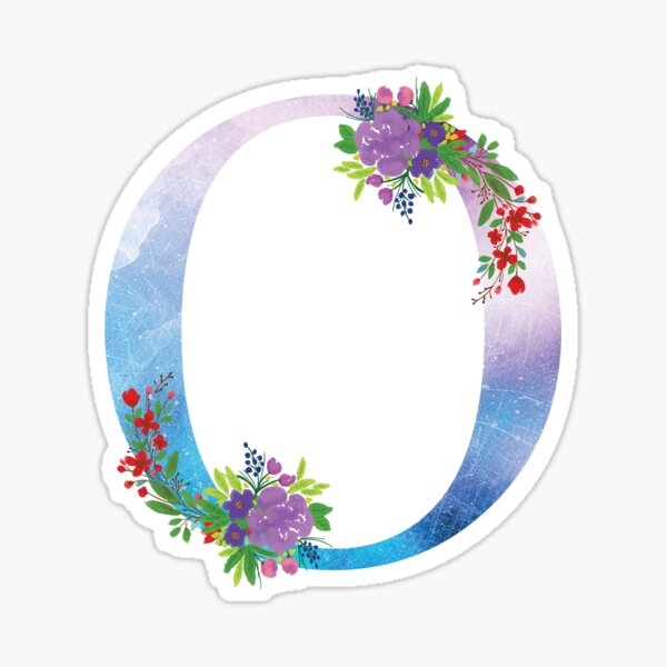 Watercolor Floral Monogram Letter O Sticker