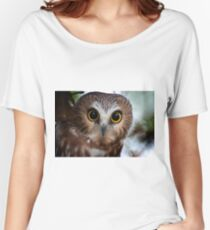 Northern Saw Whet Owl Portrait Women's Relaxed Fit T-Shirt