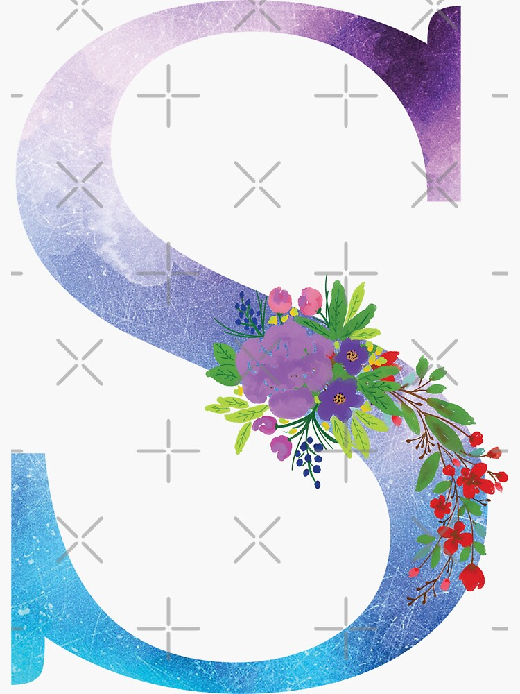 Watercolor Floral Monogram Letter S by tribbledesign