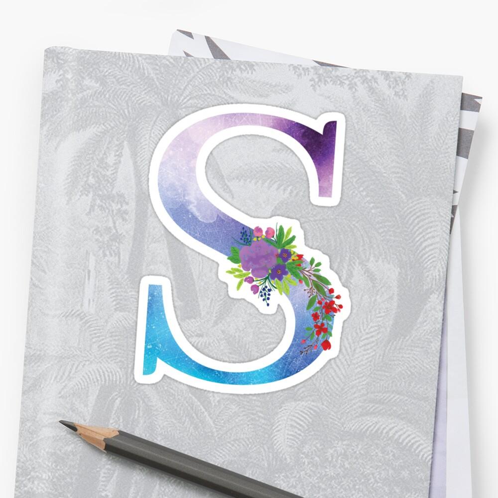 Watercolor Floral Monogram Letter S Sticker