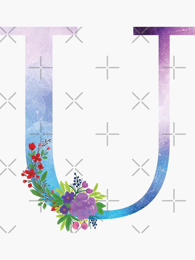 Watercolor Floral Monogram Letter U by tribbledesign