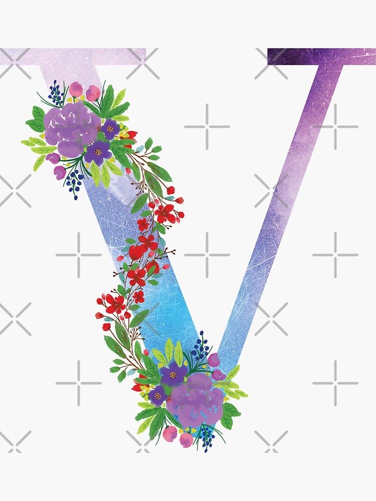 Watercolor Floral Monogram Letter V by tribbledesign