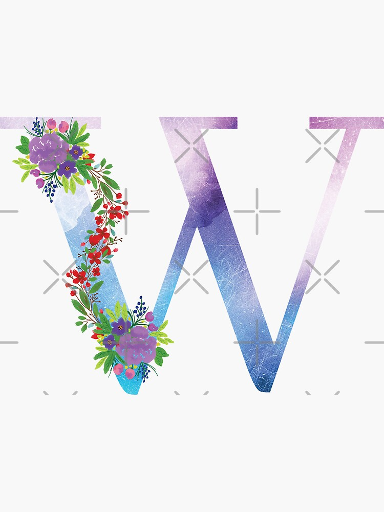 Watercolor Floral Monogram Letter W by tribbledesign