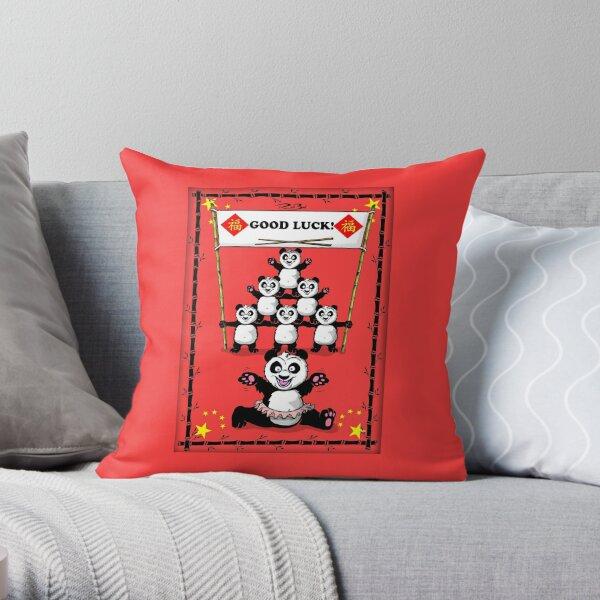 Good luck pandas / good luck card Throw Pillow