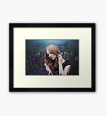 Portrait of a girl with lavendel Framed Print