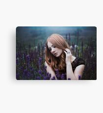 Portrait of a girl with lavendel Canvas Print
