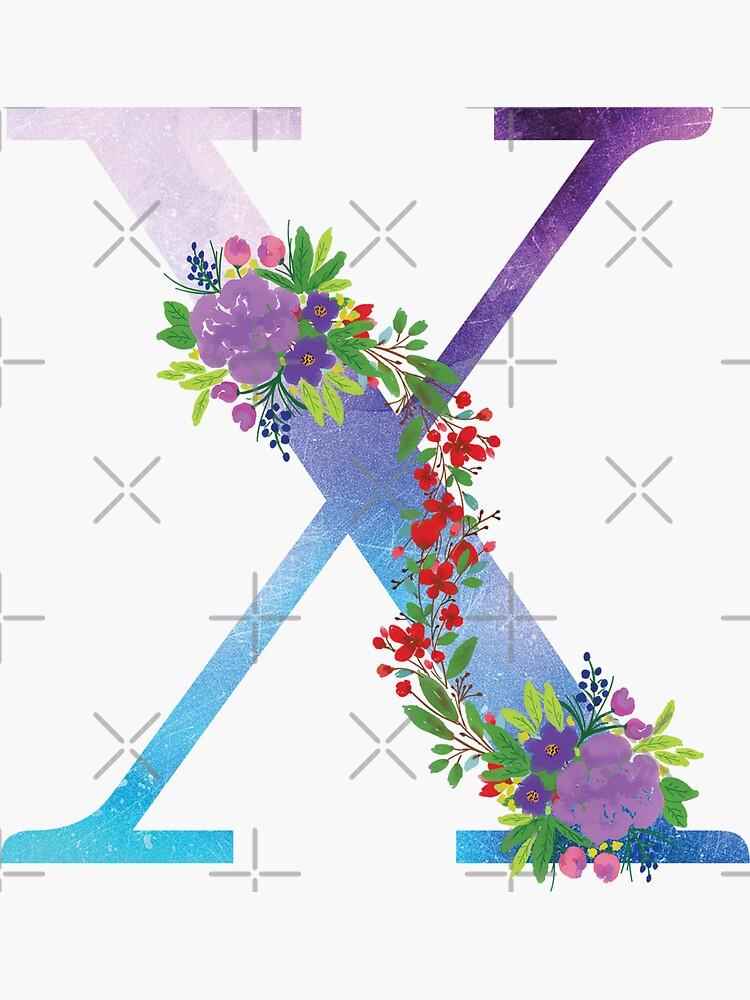 Watercolor Floral Monogram Letter X by tribbledesign