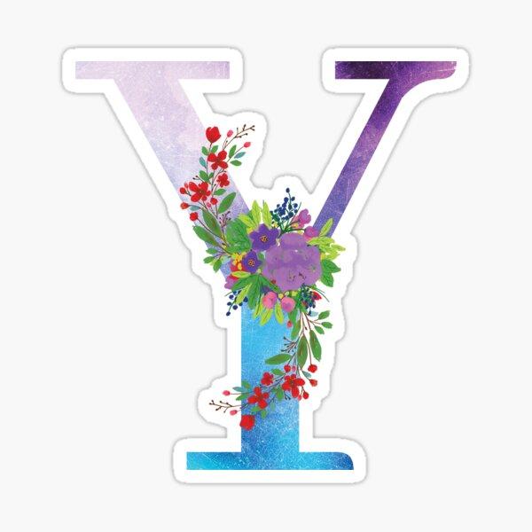 Watercolor Floral Monogram Letter Y Sticker