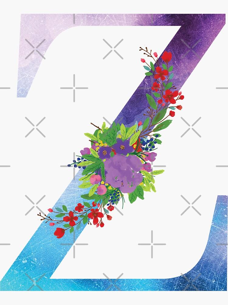 Watercolor Floral Monogram Letter Z by tribbledesign