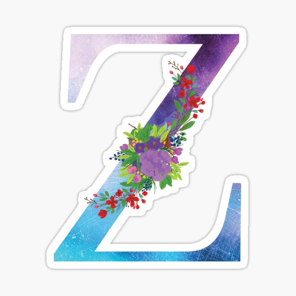 Watercolor Floral Monogram Letter Z Sticker