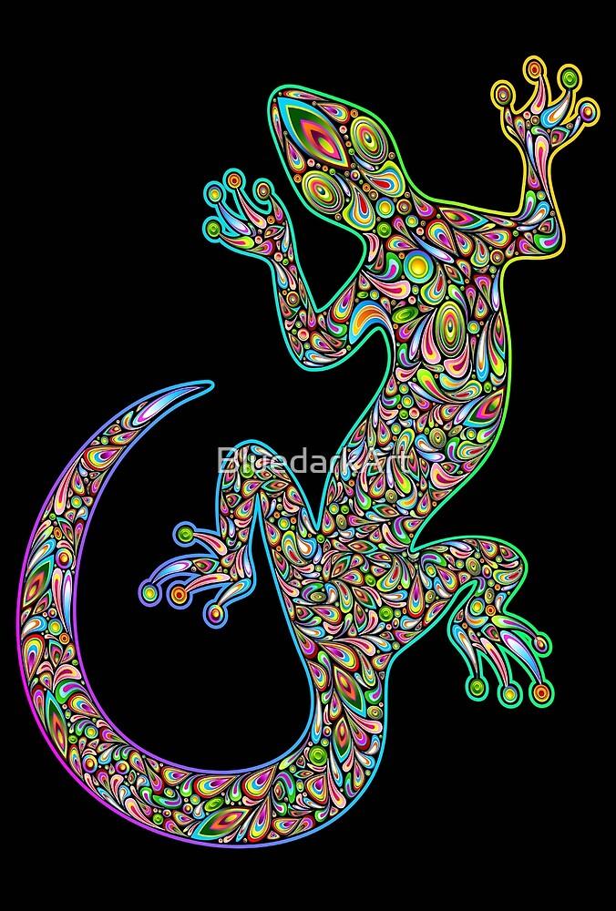 Gecko Lizard Psychedelic Fantasy Art Vector Illustration  by BluedarkArt