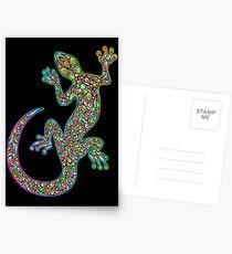 Gecko Lizard Psychedelic Fantasy Art Vector Illustration  Postcards