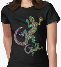 Gecko Lizard Psychedelic Fantasy Art Vector Illustration  Fitted T-Shirt
