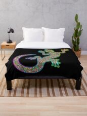 Gecko Lizard Psychedelic Fantasy Art Vector Illustration  Throw Blanket