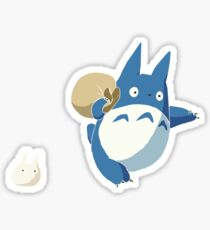 Small White and Blue Totoro with Swag Bag - No Outline Sticker